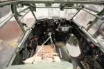 View into the cockpit of HJ711 through the escape hatch looking forward from immediately above the armour plating of the  		pilot's seat.