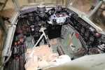 Another view of the cockpit from immediately above the pilot's armour plating, this time with the door closed, with camera flash.