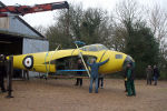 W4050's fuselage airborne in prparation for loading for the short journey to the main hangar