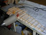 Summer 2005, beginning of fabrication. Wing ribs are stuck 